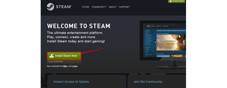 Install Steam account