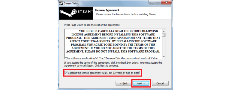 Accept the license agreement terms and conditions CS:GO
