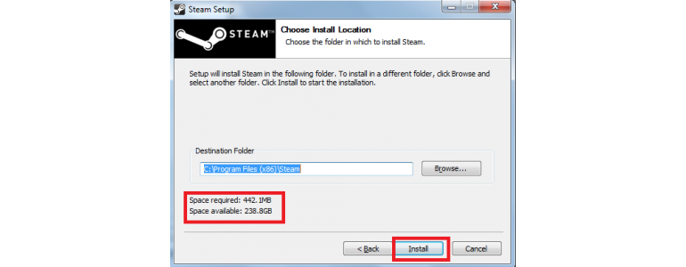 Specify the installation folder for your client Steam account