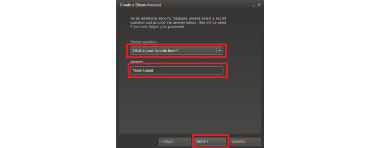Setting of secret question in case you will forget password for Steam account
