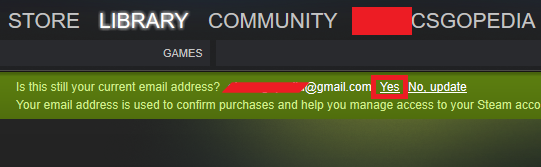 Confirmation of Your Email for the Steam Account